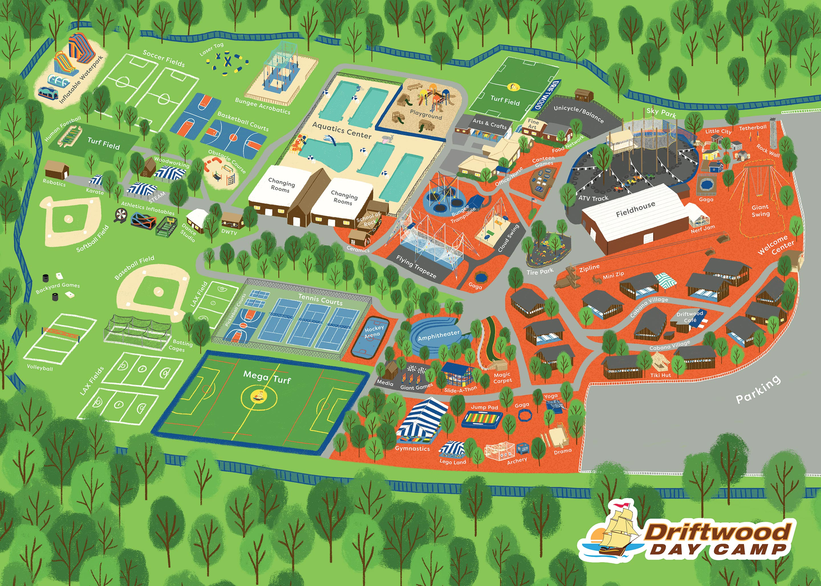 Illustrated map of Driftwood Day Camp
